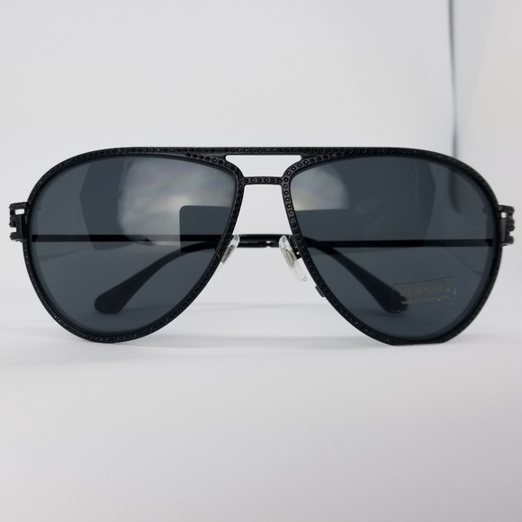 53a267f3f76d Versace Sunglasses Black Crystals Frame Aviator